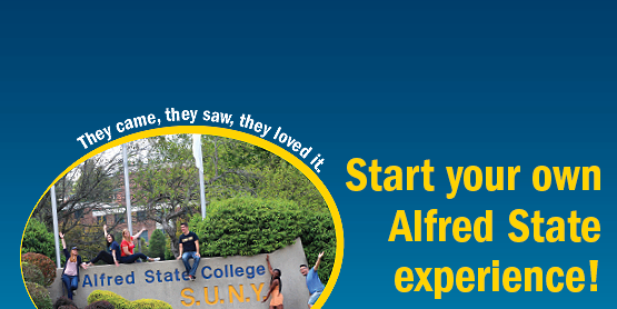 they came, they saw, they loved it, start your own Alfred State experience; students sitting on top of stone at entrance of campus