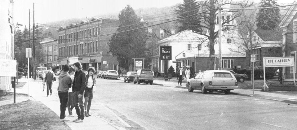 Main Street, Alfred, NY, cars and people