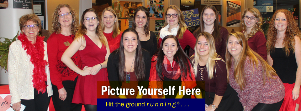 """image of sorority girls, text reads """"Picture Yourself Here, Hit the ground running®..."""""""