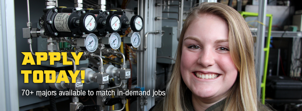 Apply Today! 70+ majors available to match in-demand jobs. Image of Mechanical Engineering Technology student in lab near dials.