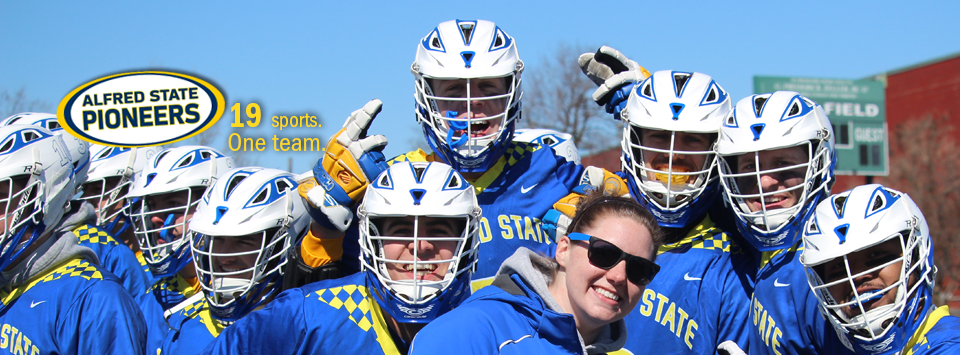 Hit the ground running®... Alfred State Pioneers. 19 sports. One Team.  Image of lacrosse team with helmets and trainer smiling wit sunglasses on
