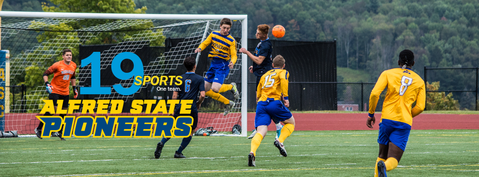 19 sports. One Team. Alfred State Pioneers.  Image of men's soccer team in action near goal.