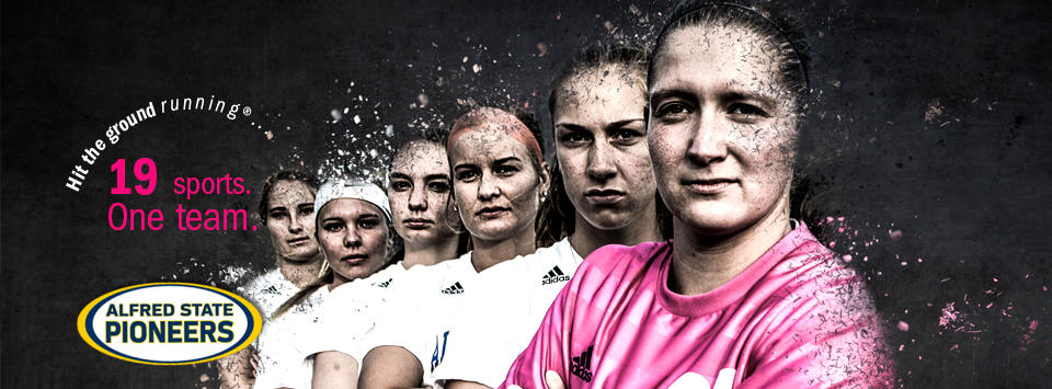 Alfred State Pioneers. 19 sports. One Team.  Image of female soccer players one wearing pink shirt