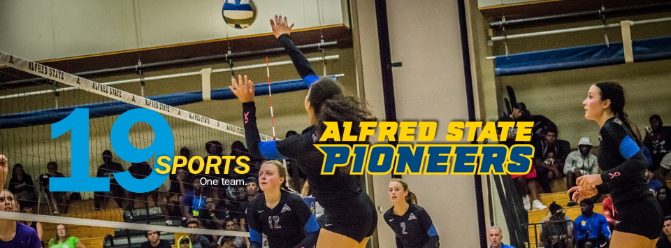 19 sports. One Team. Alfred State Pioneers.  Image of volleyball game.