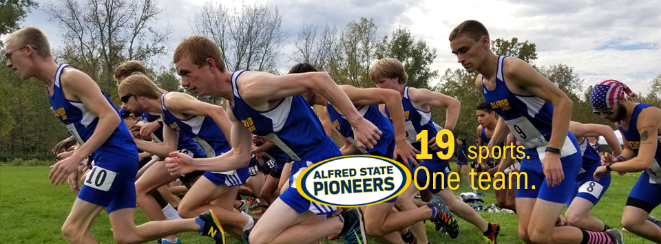Alfred State Pioneers. 19 sports. One Team.  Image of mens cross country team running in a pack wearing blue and gold uniforms.