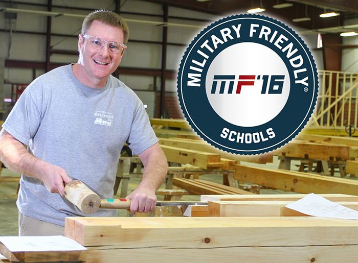 Bill Buckner woodworking, with military friendly logo in corner