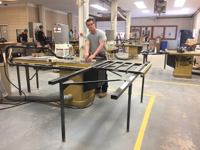 student working in building trades lab