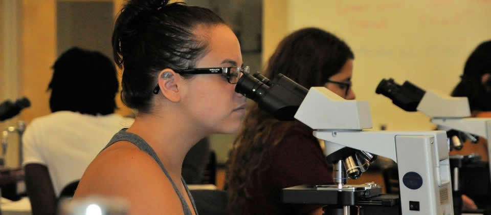 female student looking in microscope