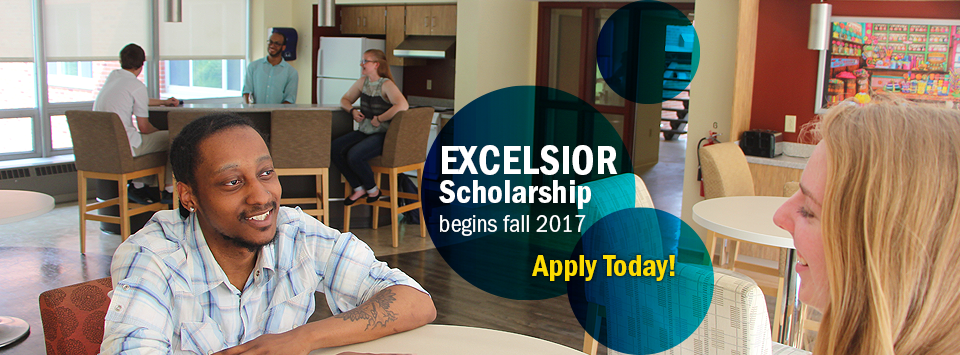 Excelsior Scholarship begins fall 2017. Apply Today!  Image of students in residence hall kitchen.
