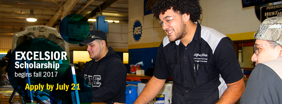 Excelsior Scholarship begins fall 2017. Apply by July 21.  Image of automotive trades students using computers.