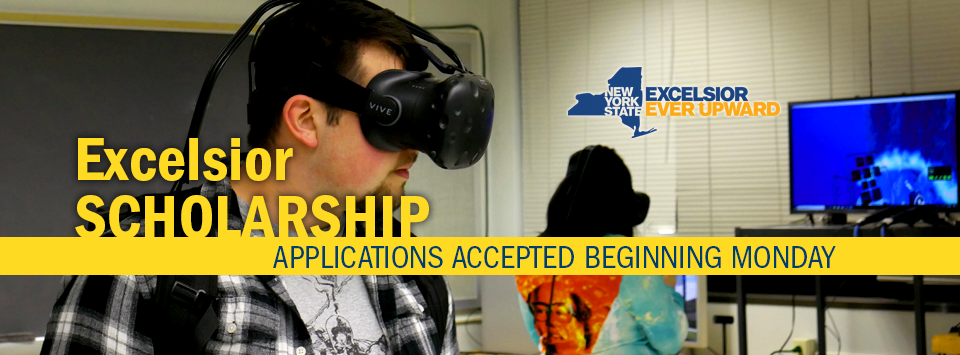 Excelsior Scholarship applications accepted beginning Monday. Image of students using virtual reality equipment.