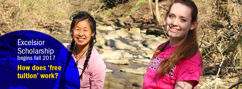 Excelsior Scholarship begins fall 2017. How does 'free tuition' work? Image of two female students in the creek.