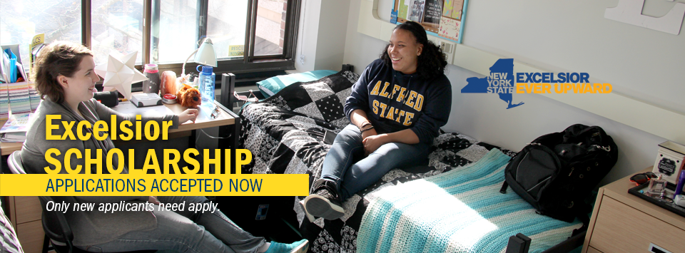Excelsior Scholarship applications accepted Now. Only new applicants need apply. Image of two girls in their dorm room.