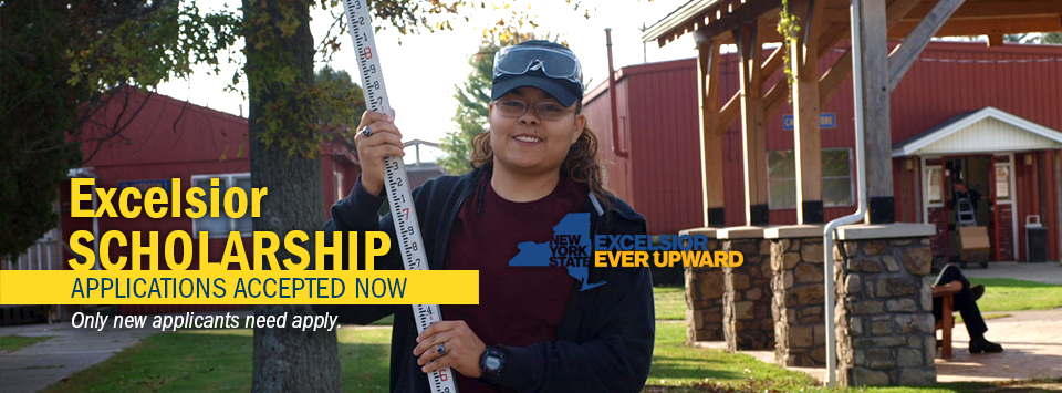 Excelsior Scholarship applications accepted Now. Only new applicants need apply. Image of female on the Wellsville campus with a measuring pole.