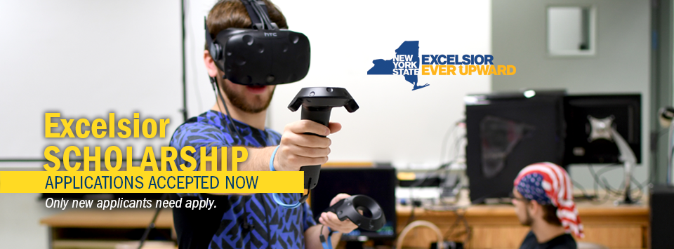 Excelsior Scholarship applications accepted Now. Only new applicants need apply. Image of male student using virtual reality head set and hand controls