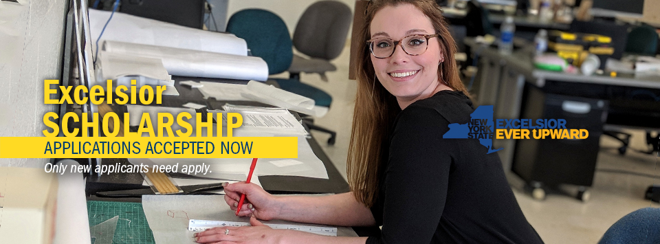 Excelsior Scholarship applications accepted Now. Only new applicants need apply. Image of female student wearing glasses working in the architecture lab holding pencil.