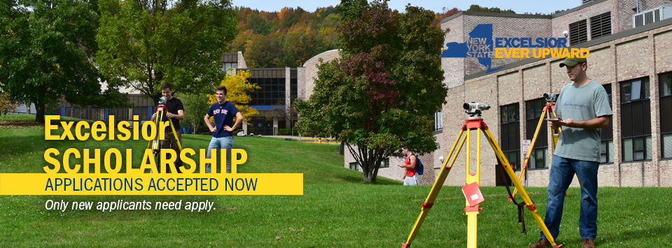 Excelsior Scholarship applications accepted Now. Only new applicants need apply. Image of surveying students working together on the lawn on campus.
