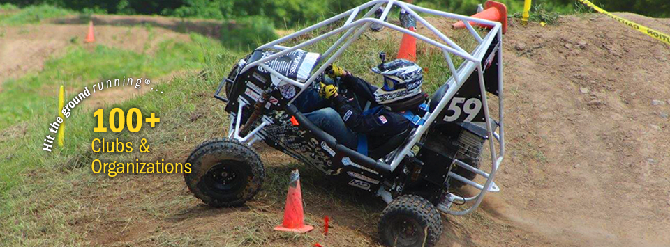 Hit the ground running®.... 100+ Clubs and Organizations. Image of baja teams racing buggy in action.