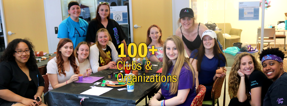 100+ Clubs and Organizations. Image of group of greek students wearing their letters smile for the camera.
