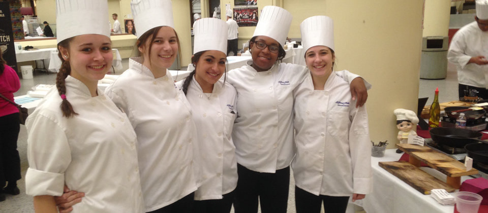 several female culinary students
