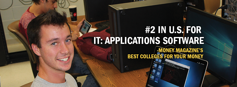 #2 in U.S. for IT: Applications Software - Money Magazine's Best Colleges for your Money. Image of male student at computer lab with coding on screen.