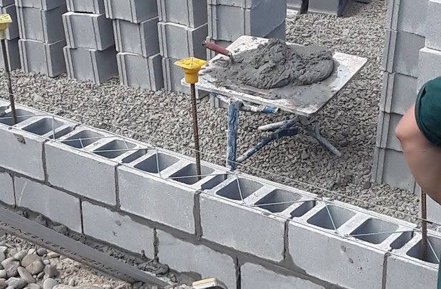 stacked cement blocks