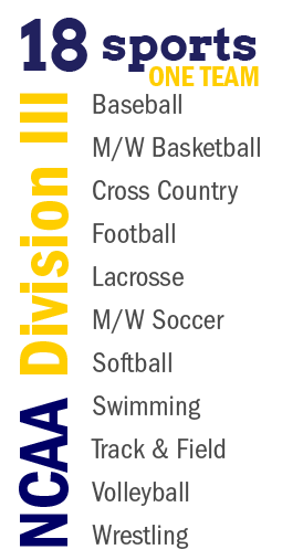 NCAA Division III - 18 Sports one team: Baseball, M/W Basketball, Cross Country, Football, Lacrosse, M/W Soccer, Softball, Swimming, Track & Field, Volleyball, and Wrestling.