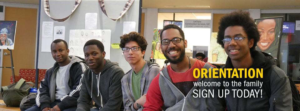 ORIENTATION welcome to the family SIGN UP TODAY! Photo of smiling group of guys with art behind them.