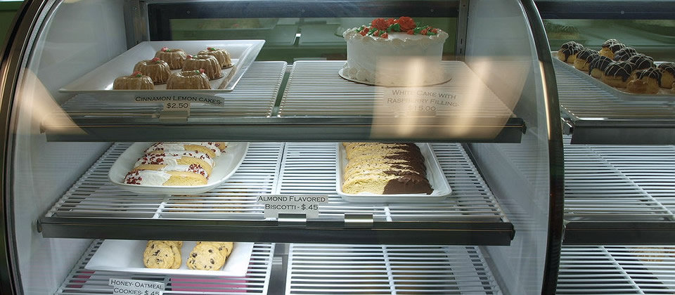 bakery case with desserts