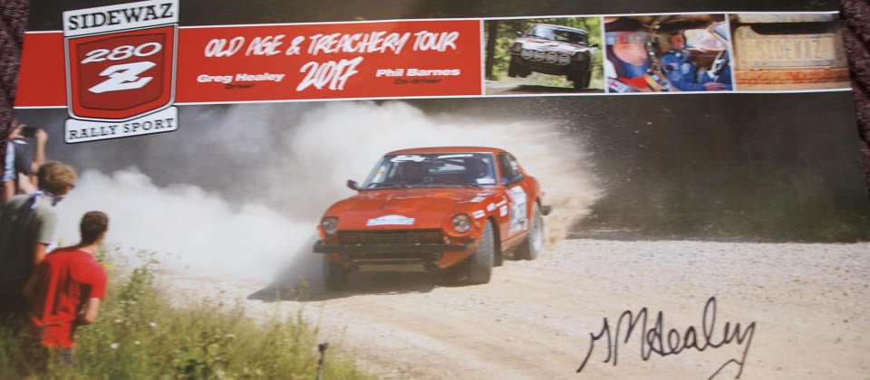 poster of a car with an autograph