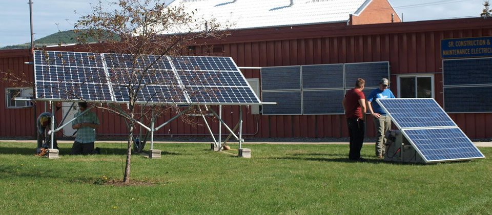 solar panels on the Wellsville campus