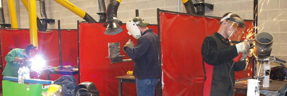 students in welding lab