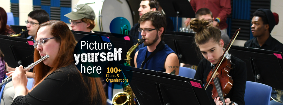 Picture yourself here. 100+ Clubs and Organizations. Image of performing arts band practice.