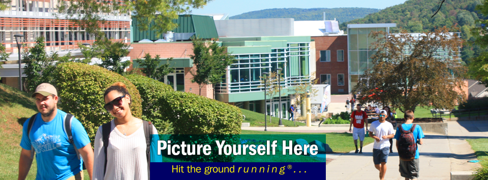 Students walking up campus. Picture Yourself Here, Hit the ground running®... #AlfredState