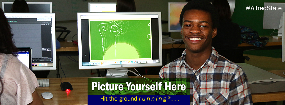 Digital Media major working in a computer lab. Picture Yourself Here,  Hit the ground running. #AlfredState