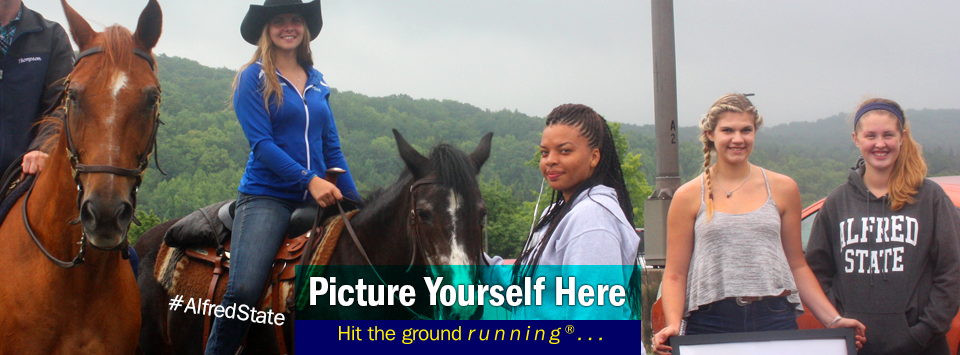 Equestrian Club sharing the horses at new student convocation. Picture Yourself Here, Hit the ground running