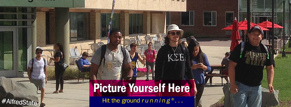 Students walking up campus. Picture Yourself Here, Hit the ground running®...