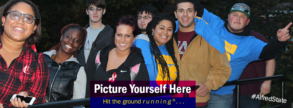 Group of students smiling. Picture Yourself Here, Hit the ground running