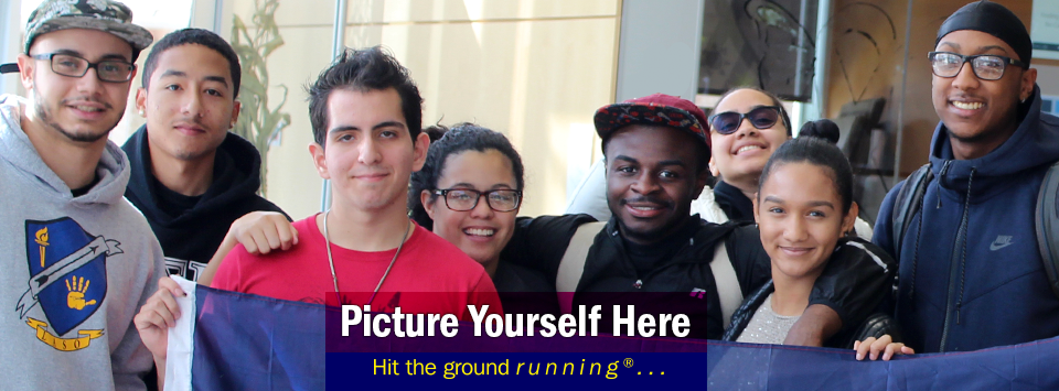 8 smiling LASO club students pose for a photo.  Picture Yourself Here, Hit the ground running®...