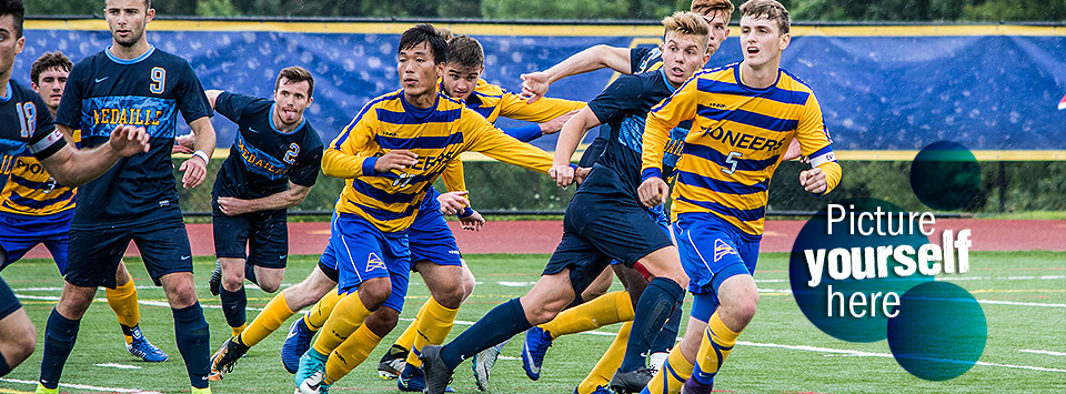 Picture yourself here. Image of men's soccer team in action on Pioneer field.