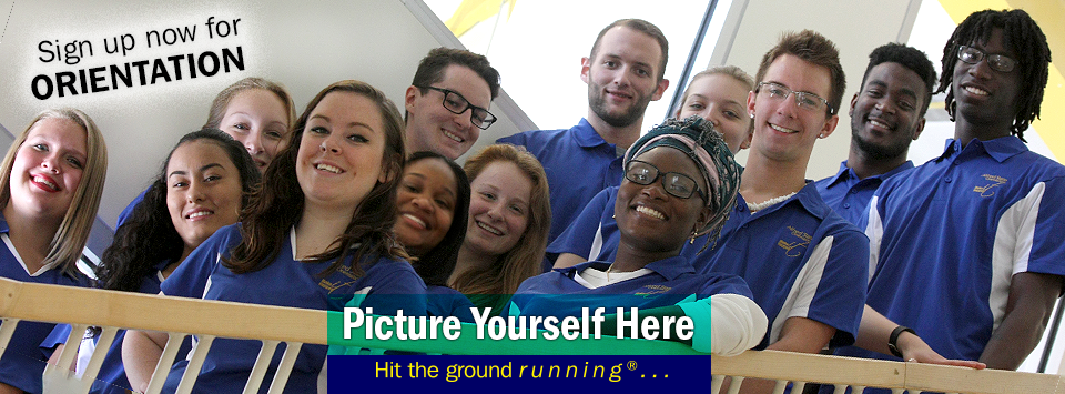 Orientation Leaders of 2016 pose for a photo on the stairs of the SLC. Sign up now for Orientation. Picture Yourself Here, Hit the ground running