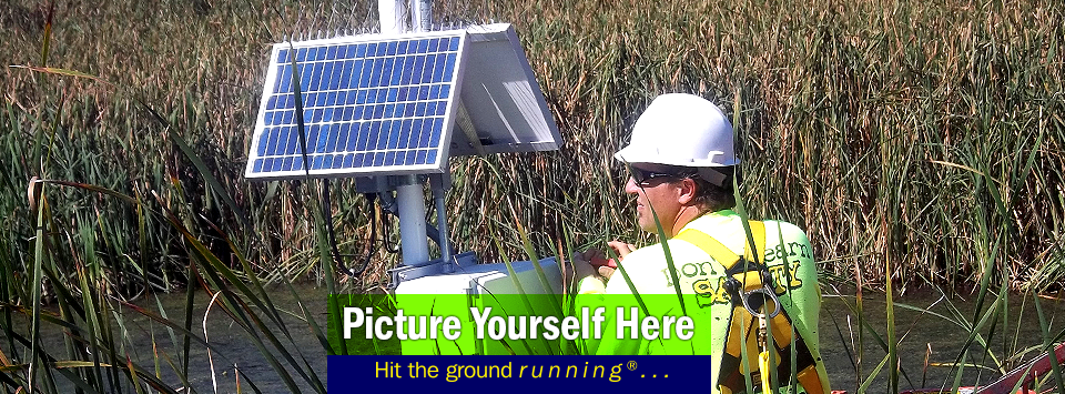 A man doing a solar panel install in grassy pond. Picture Yourself Here, Hit the ground running.