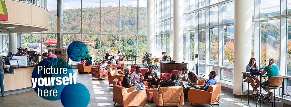 Picture yourself here. Image of students enjoying the Park Space of the Student Leadership Center.
