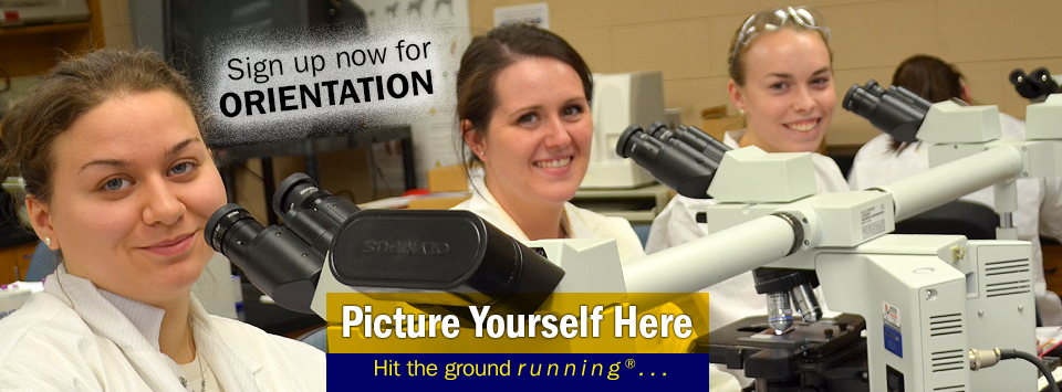 Vet Tech majors pose with their microscopes in lab. Picture Yourself Here, Hit the ground running. Sign up now for orientation