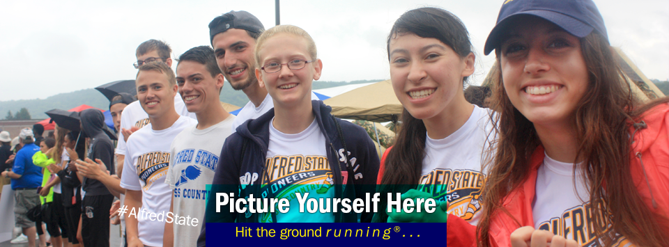 Group of Cross country athletes welcome new students. Picture Yourself Here, Hit the ground running®...