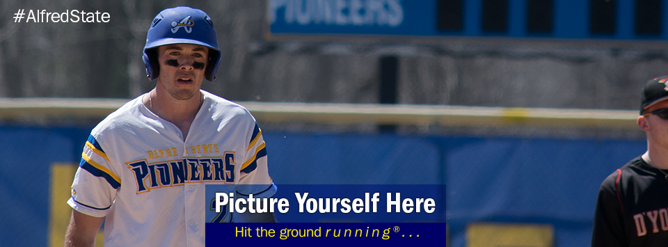 White male in baseball uniform. Picture Yourself Here. Hit the ground running. #AlfredState