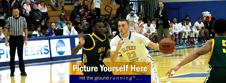 Action shot from Men's basketball vs. Delhi. Picture yourself here, hit the ground running®...
