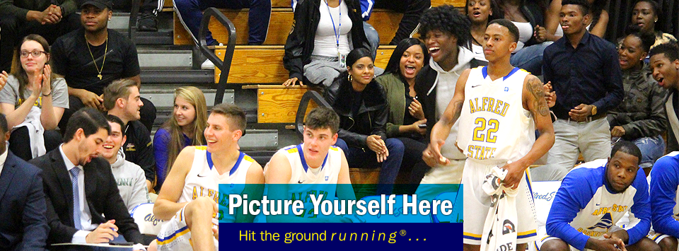 Photo of sideline during basketball game with crowd in awe. Picture yourself here, Hit the ground running®...