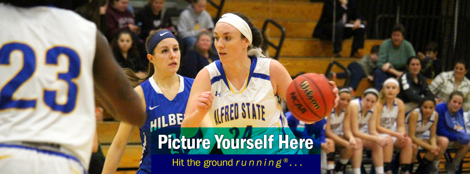Photo of #24 on the women's basketball team in action. Picture yourself here, Hit the ground running®...