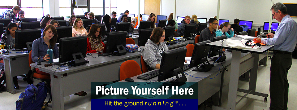 Students in business class with computers. Picture Yourself Here, Hit the ground running.#AlfredState